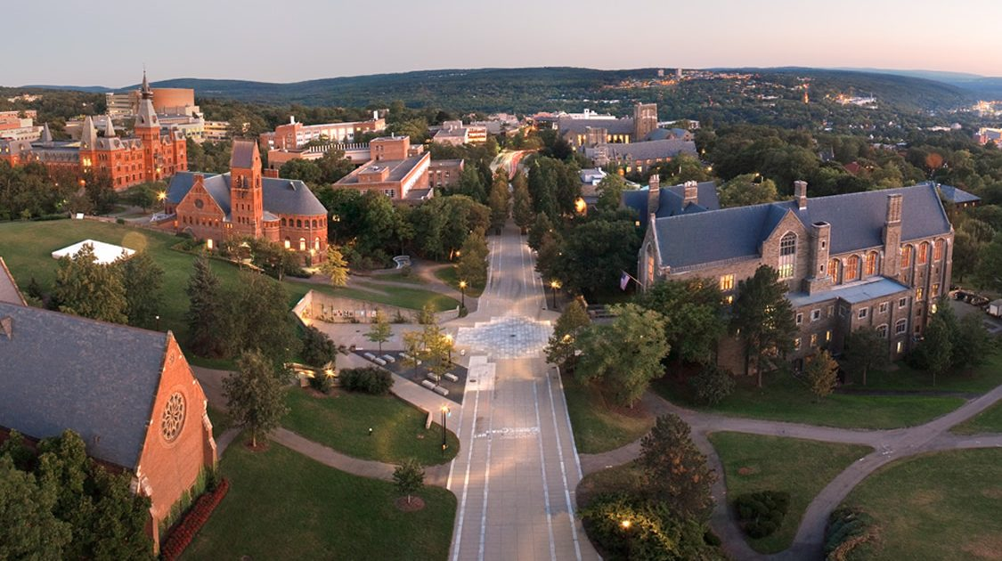 Aerial photo of Cornell showing Ho Plaza